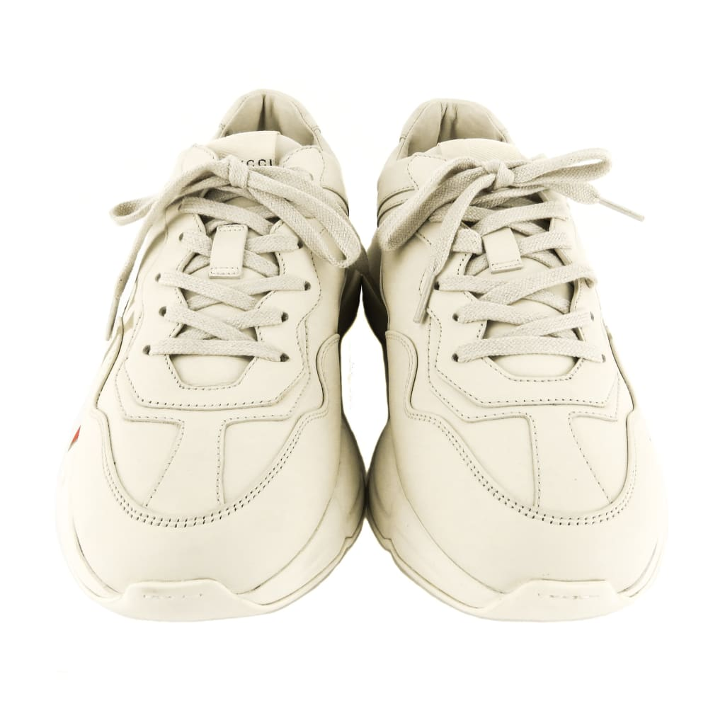 Gucci Ivory Leather Rhyton Logo Sneakers - Sneakers