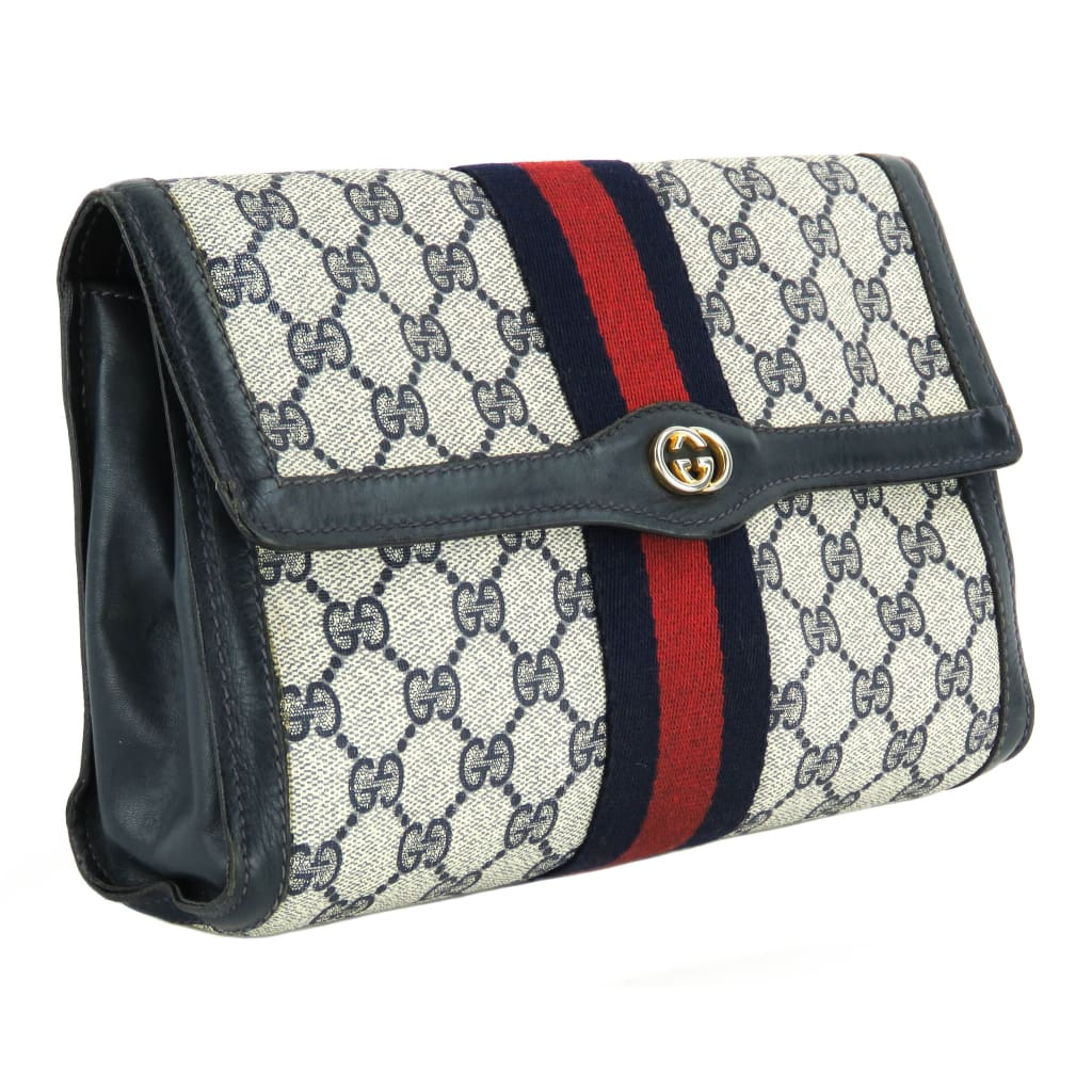 Gucci Navy Blue GG Coated Canvas Sherryline Clutch Bag - Clutches