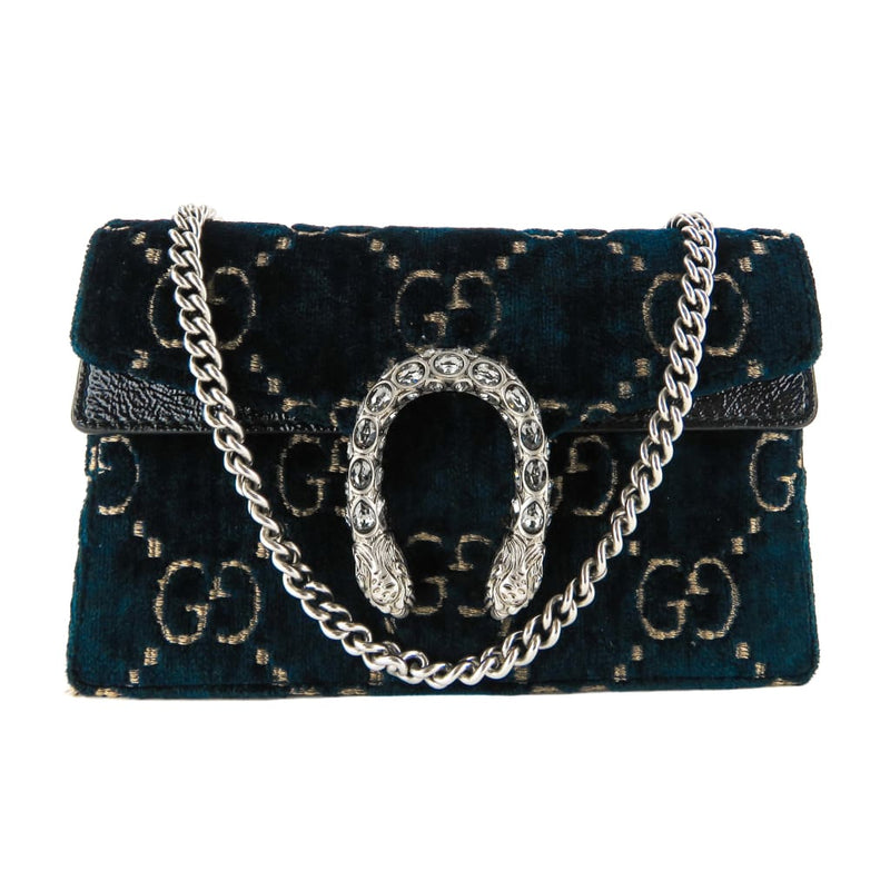Gucci Navy Blue Velvet GG Monogram Super Mini Dionysus Crossbody Bag - Crossbodies