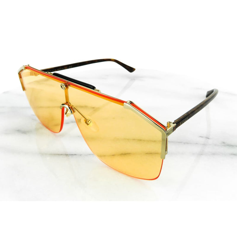 Gucci Orange Gold-tone Mens Shield Sunglasses - Sunglasses