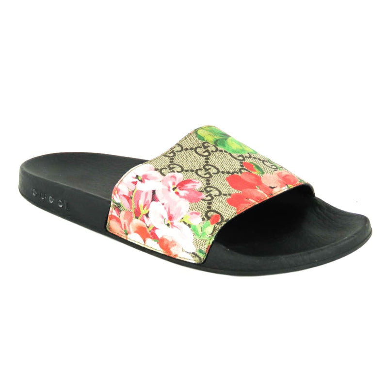 72fdd39fd0e Gucci Pink and Red GG Canvas Blooms Supreme Slide Sandals – Mosh ...