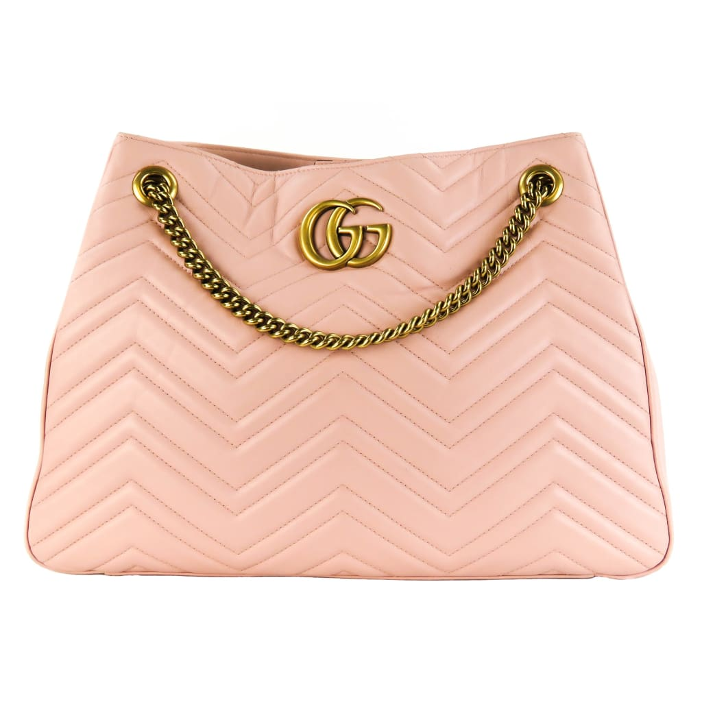Gucci Pink Chevron Leather Marmont Matelasse Medium Shoulder Bag - Shoulder Bags