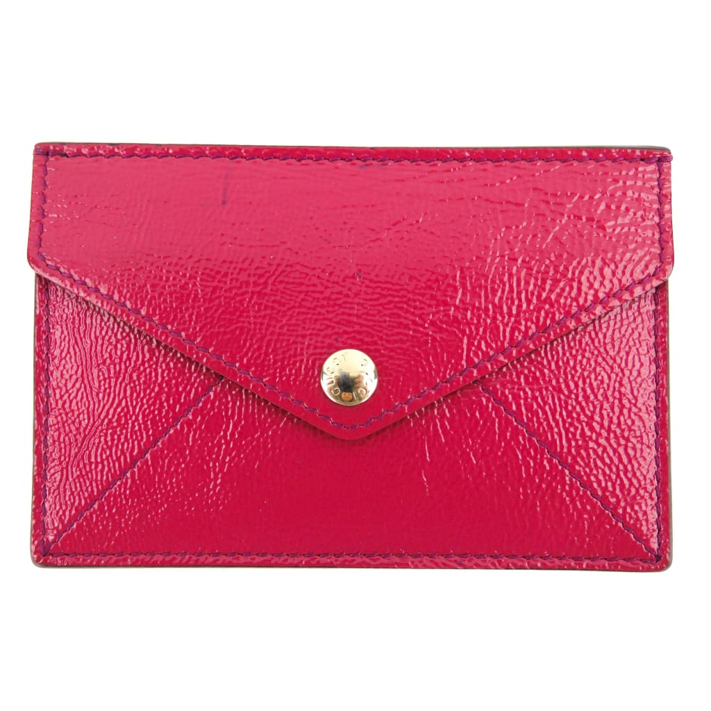 Gucci Pink Textured Patent Leather Soho Envelope Card Case Wallet - Card Case