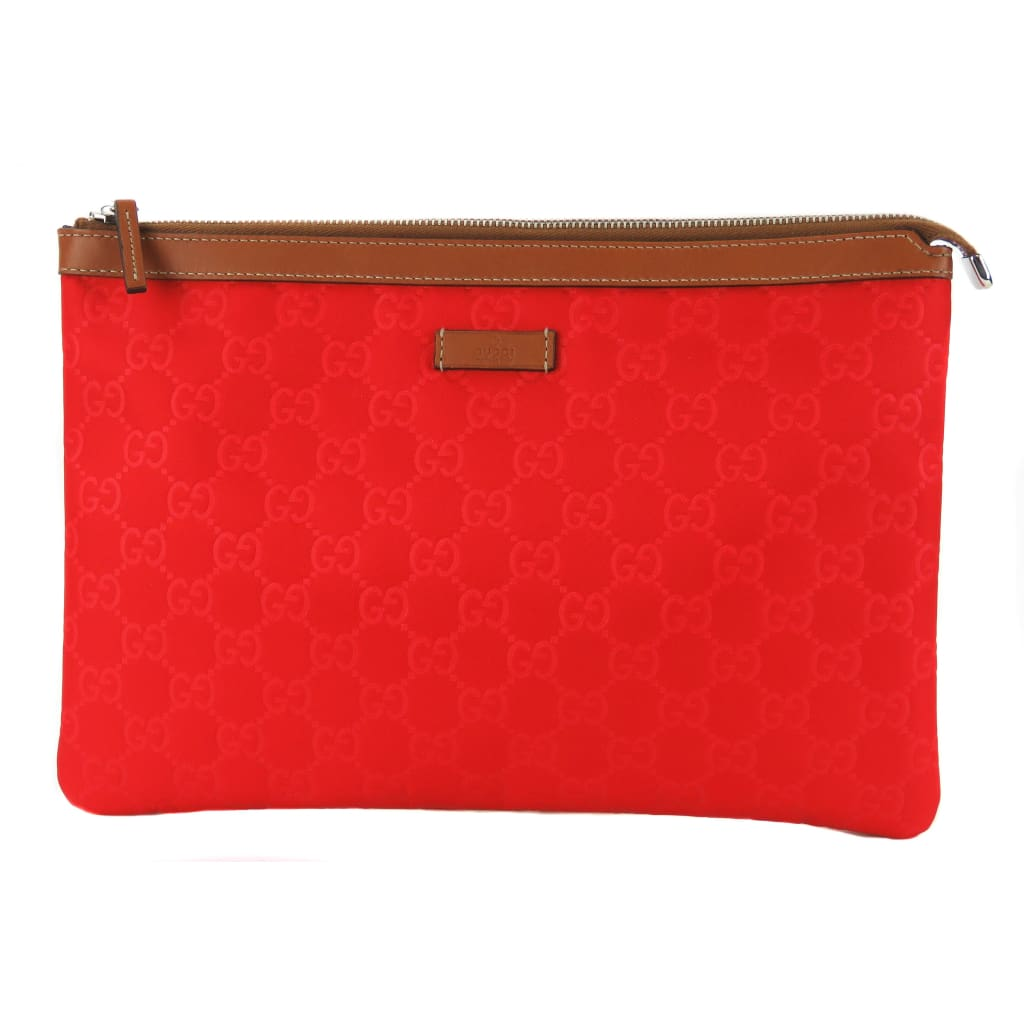 Gucci Red GG Nylon Large Top Zip Clutch Bag - Clutches