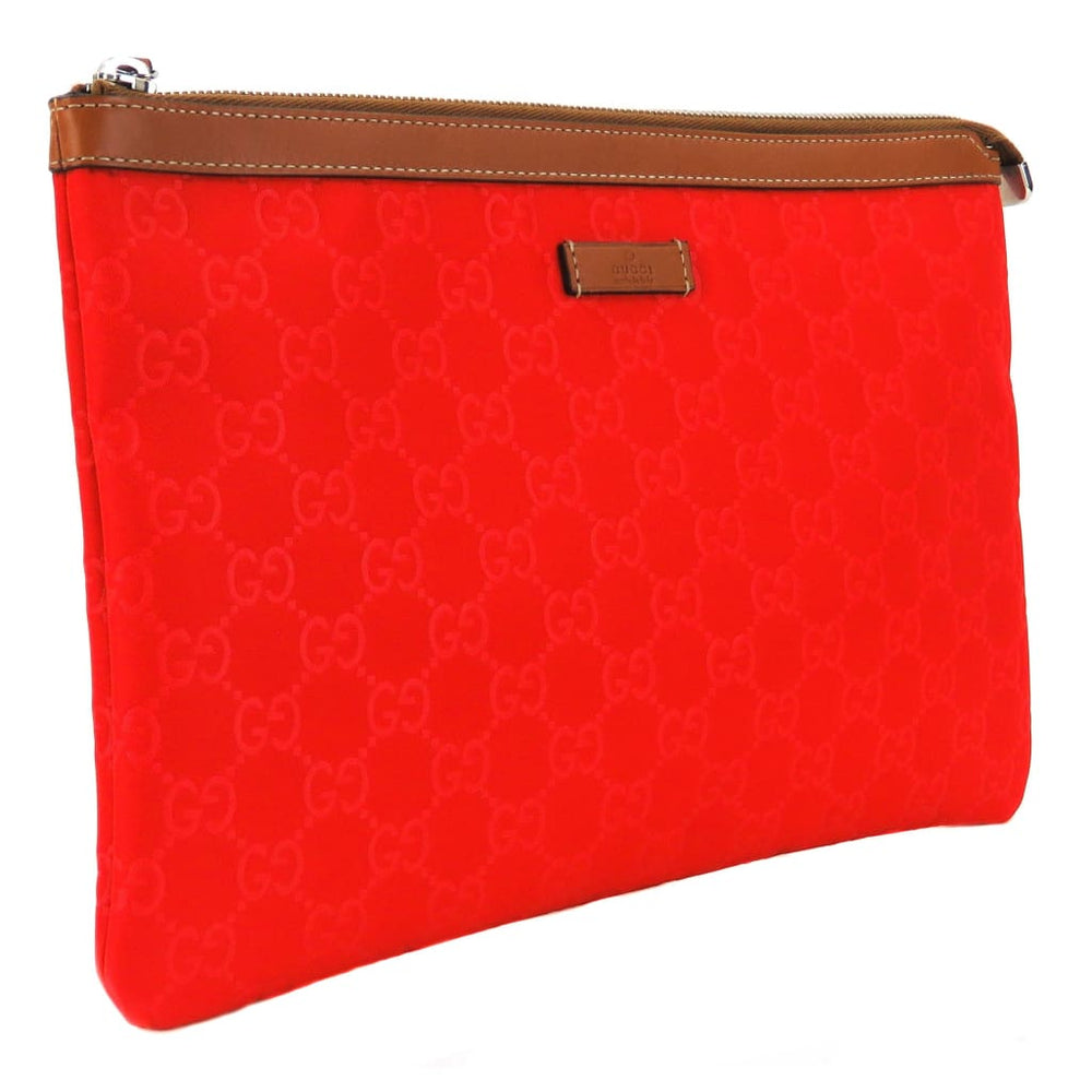 e41a897bd7c Gucci Red GG Nylon Large Top Zip Clutch Bag – Mosh Posh Designer ...
