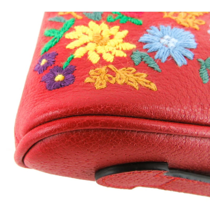 Gucci Red Leather Ricamo Fiori Embroidered Top Zip Pouch Clutch Bag - Clutches