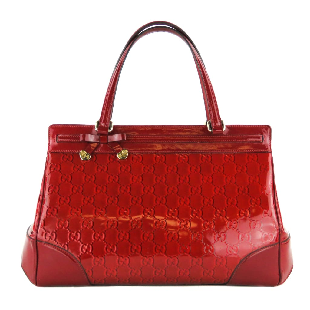 b217a54023a Gucci Red Patent Guccissma Leather Mayfair Tote Bag - Totes