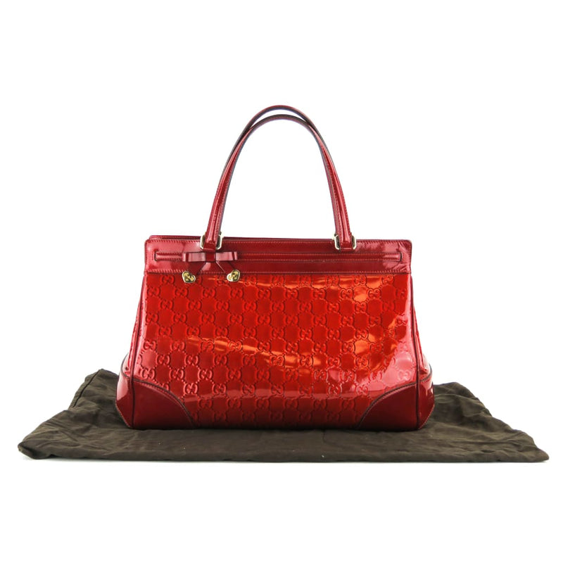 Gucci Red Patent Guccissma Leather Mayfair Tote Bag - Totes