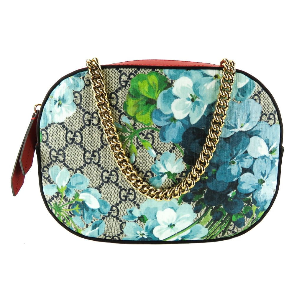 Gucci Red Supreme Canvas Blooms Print Mini Chain Crossbody Bag - Crossbodies