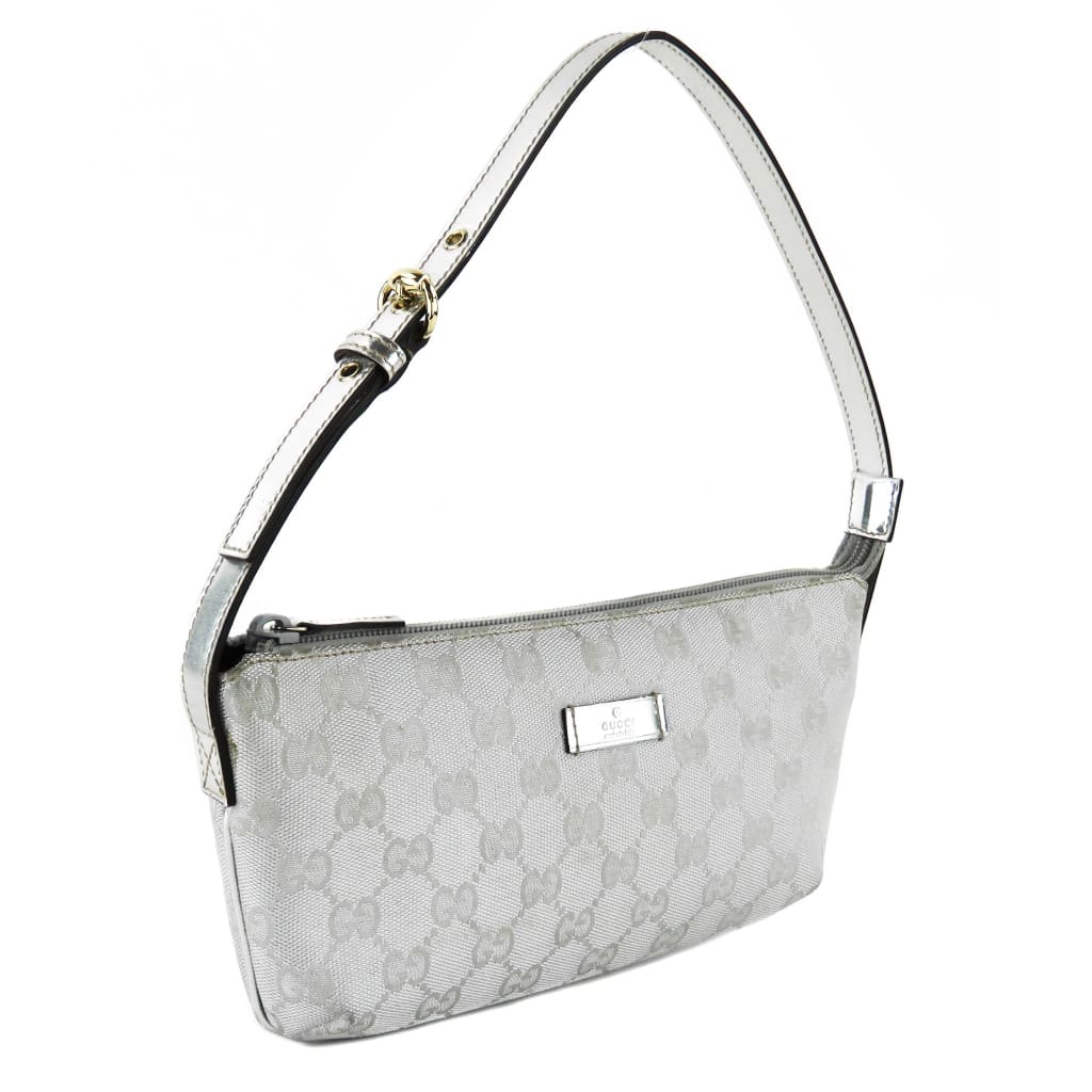Gucci Silver GG Canvas Boat Pochette Shoulder Bag - Shoulder Bags