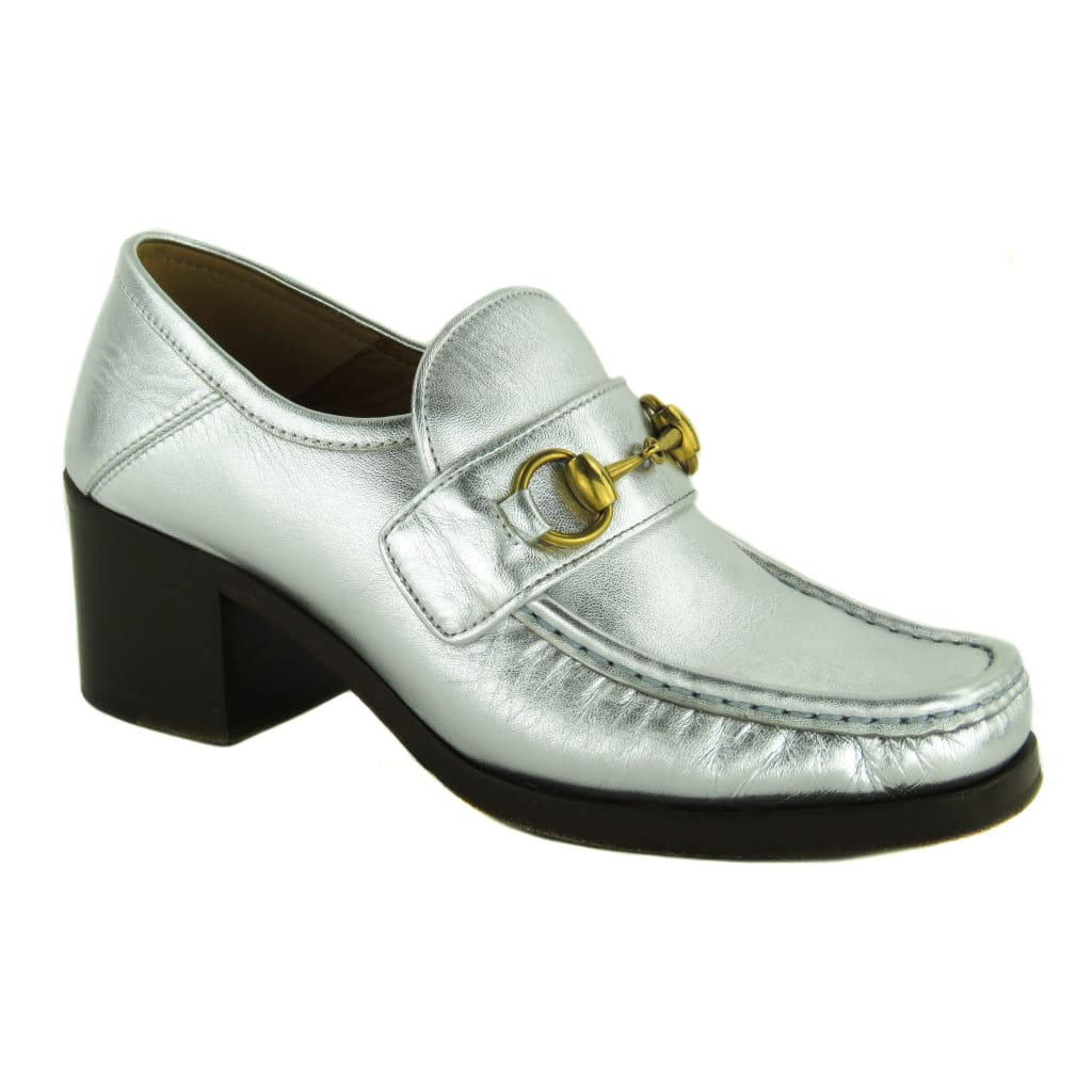 Gucci Silver Metallic Leather Saks Fifth Avenue Vegas Loafer Heels - Loafers