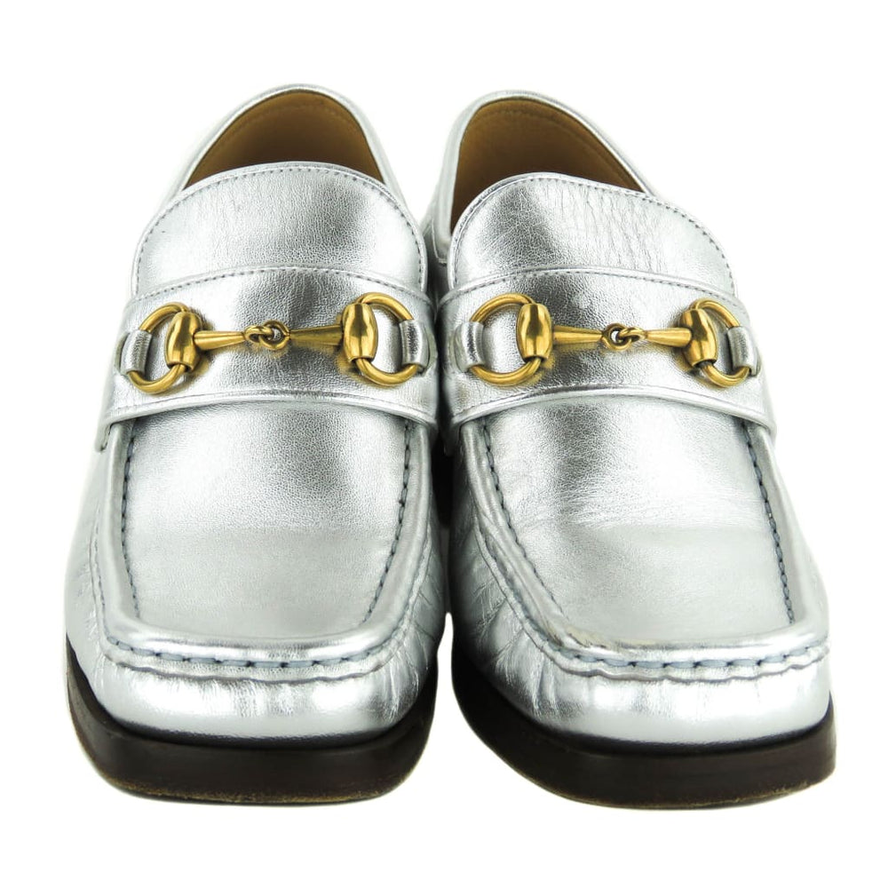 a0bcdd513331 Gucci Silver Metallic Leather Saks Fifth Avenue Vegas Loafer Heels