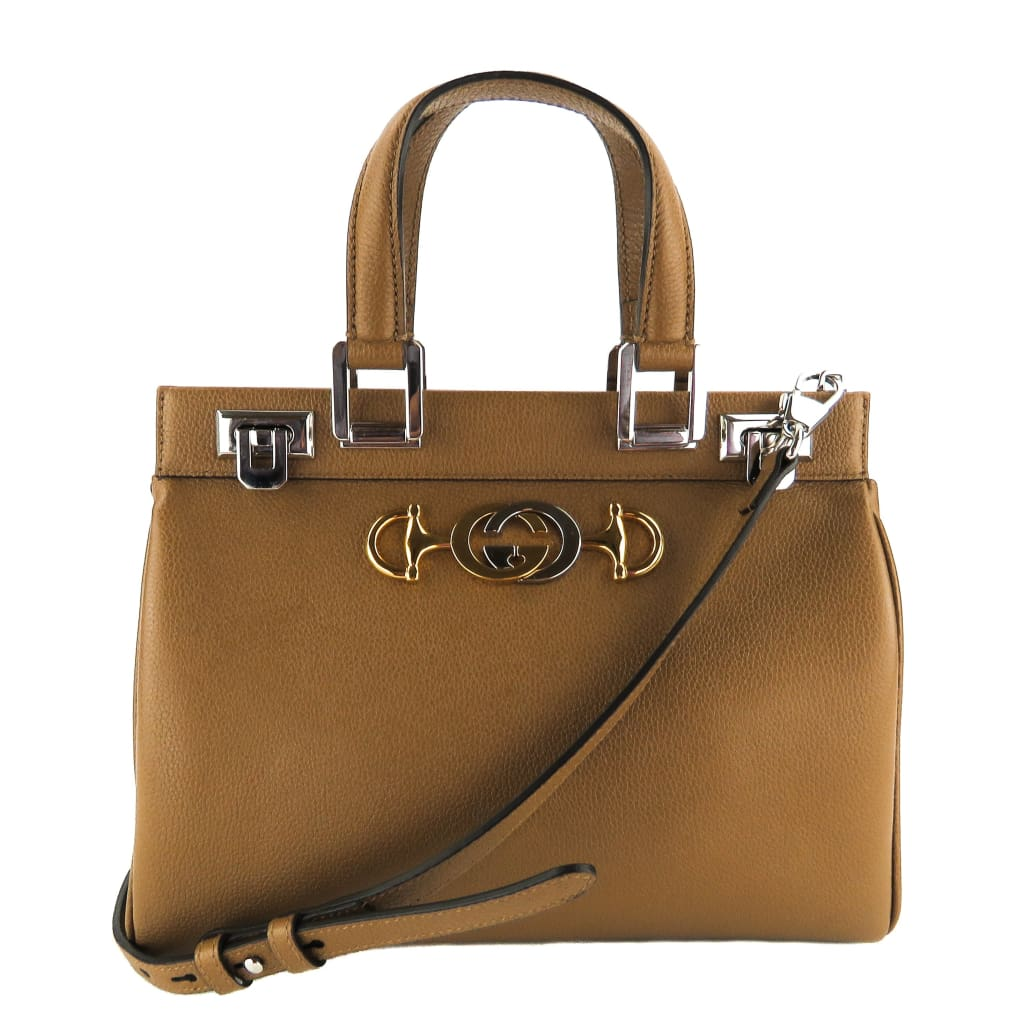 Gucci Tan Grainy Leather Zumi Small Tote Bag - Totes