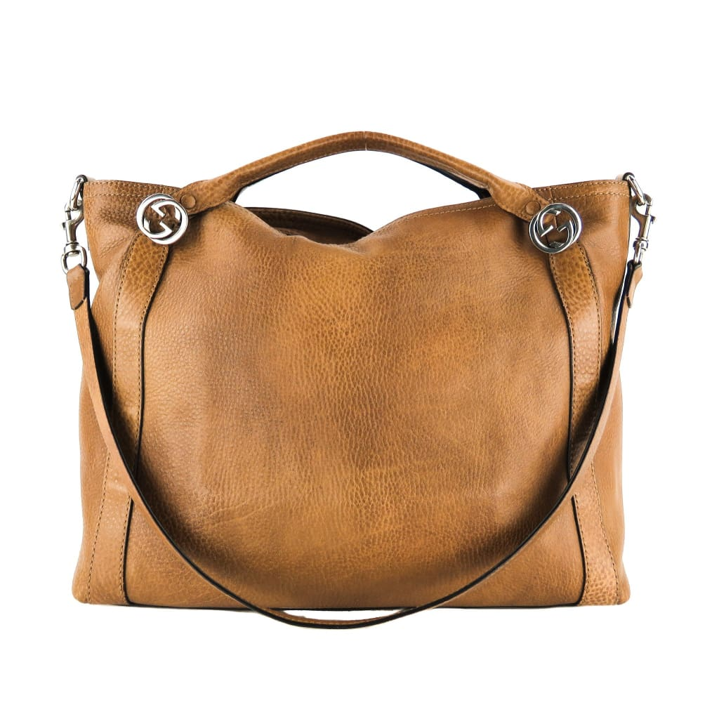 Gucci Tan Leather Miss GG Convertible Tote Bag - Totes