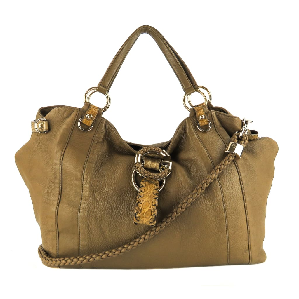 Gucci Taupe Leather G Wave Large Shoulder Tote Bag - Totes