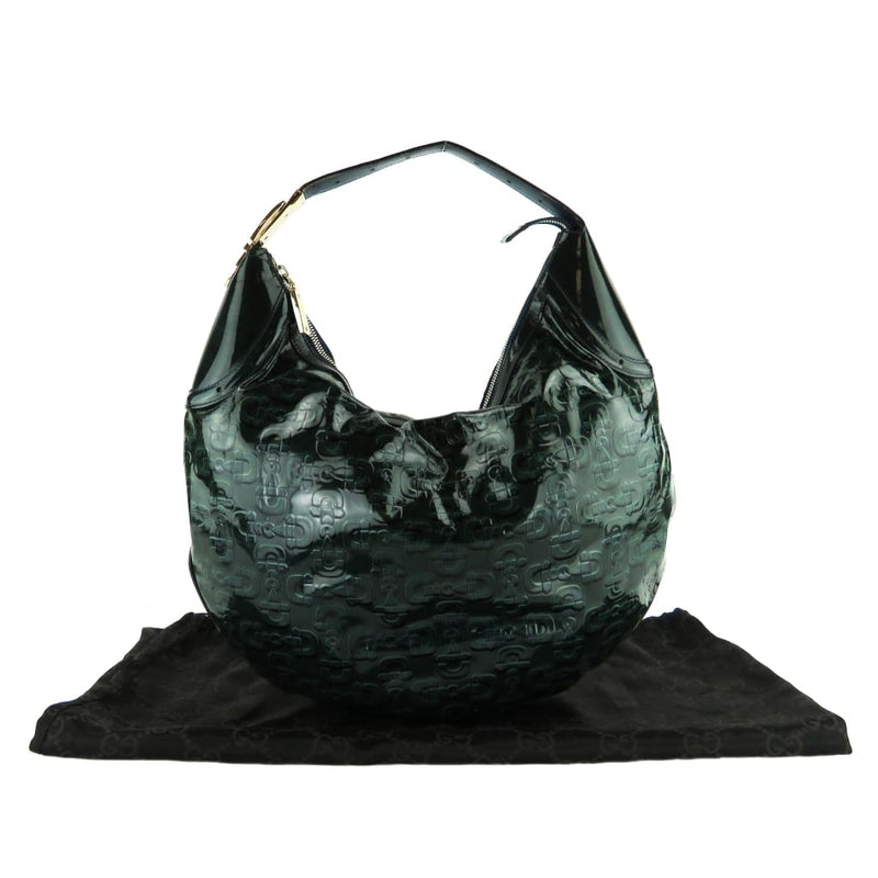 Gucci Teal Green Patent Leather Horsebit Embossed Glam Hobo Shoulder Bag - Hobo Bags