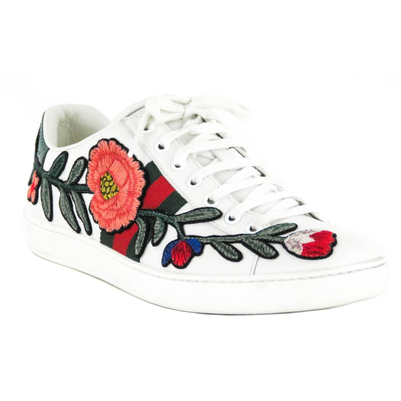 Gucci White Leather Ace Floral Embroidered Sneakers - Sneakers