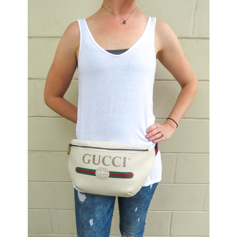 Gucci White Leather Logo Belt Bag - Belt Bags