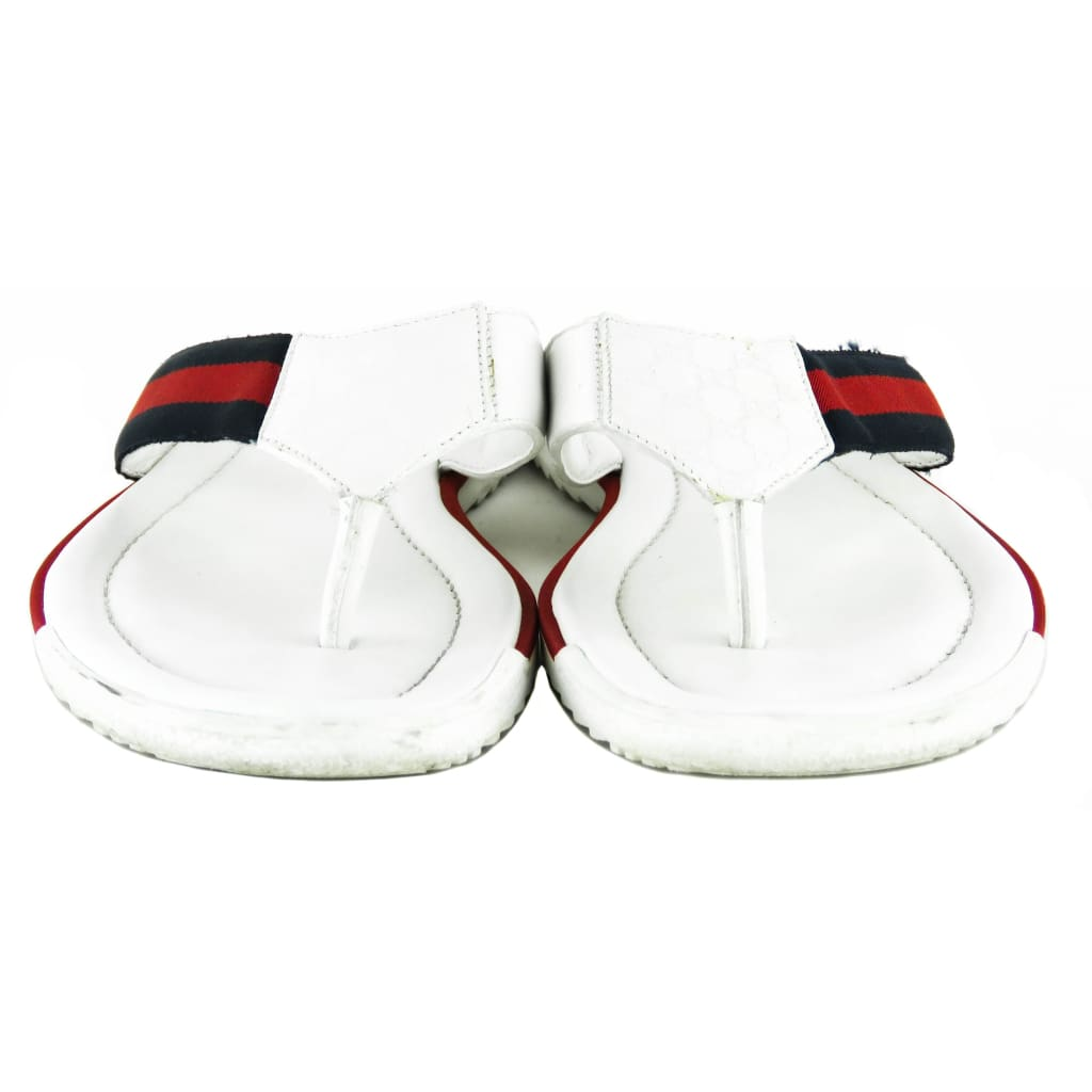 Gucci White Leather Mens GG Thong Flip Flop Sandals - Sandals
