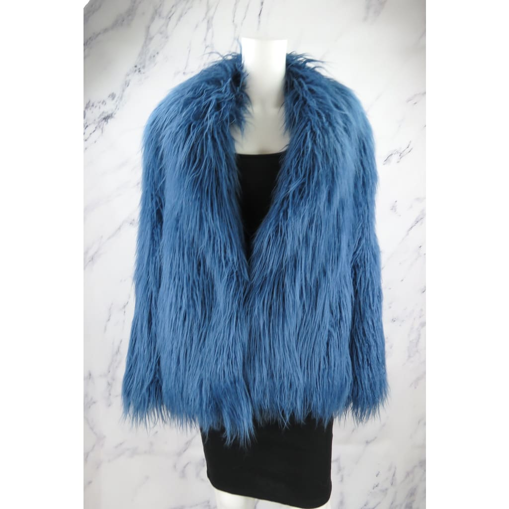 Halston Heritage Blue Faux Fur Small Shaggy Coat - Coat