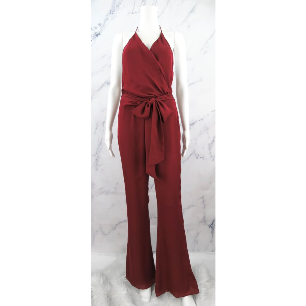 Haute Hippie Burgundy Silk Small Halter Jumper - Jumper