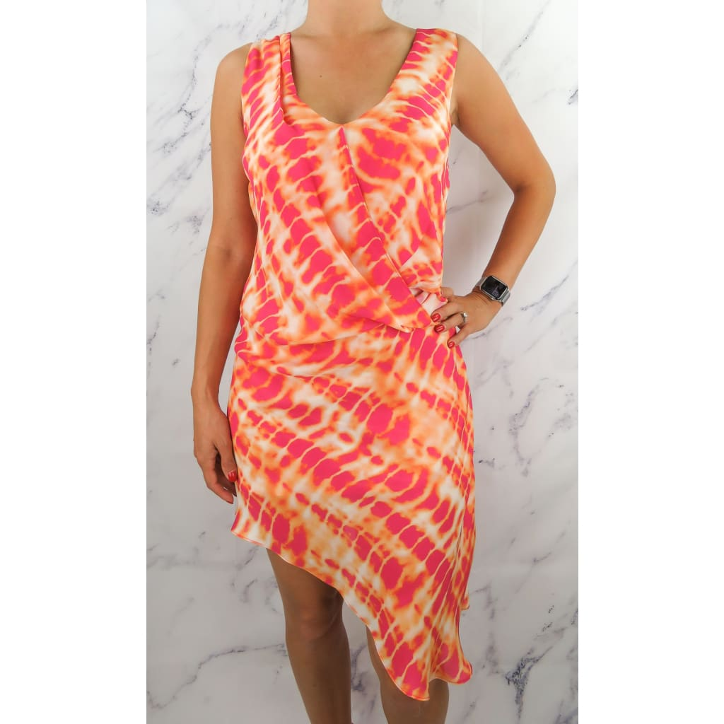 Haute Hippie Orange and Pink X-Small Silk Sleeveless Dress - Dresses