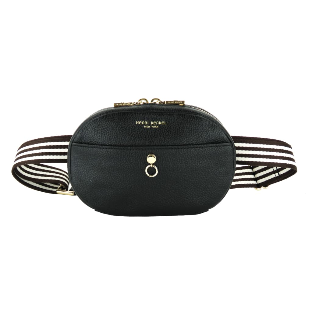 Henri Bendel Black Leather About Town Webbing Strap Belt Bag - Belt Bags