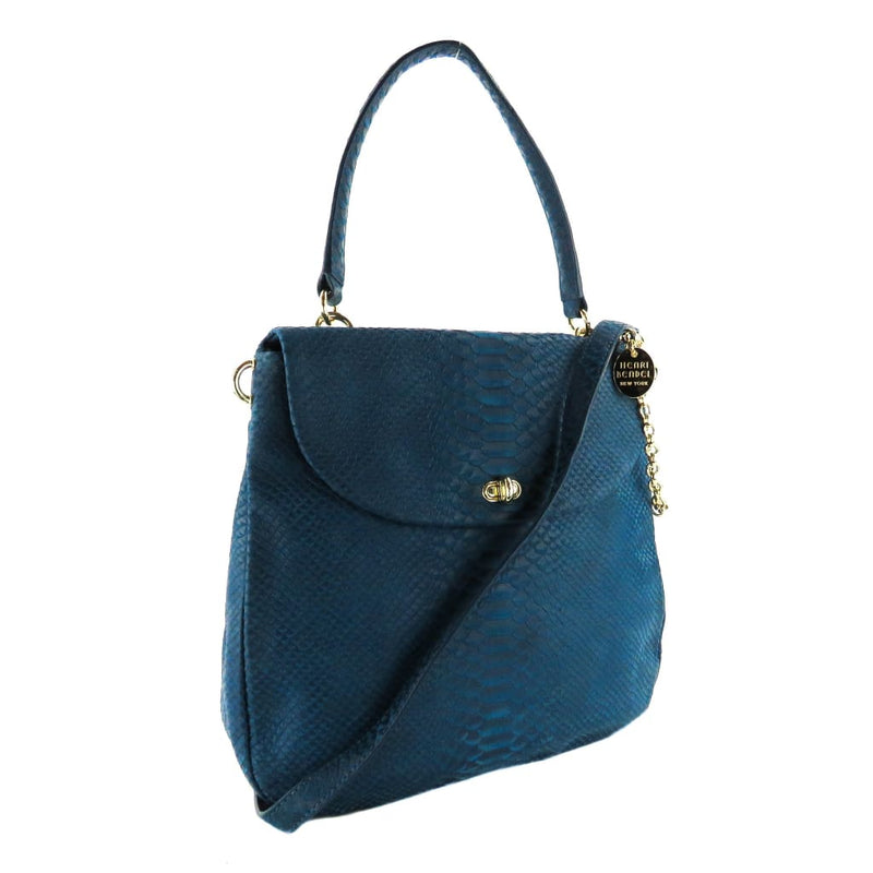 Henri Bendel Blue Snake Embossed Leather Sutton Messanger Satchel Bag - Satchels