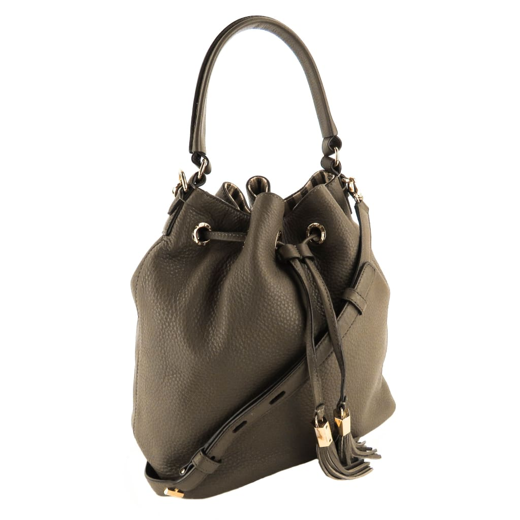 Henri Bendel Taupe Leather Bedford Drawstring Bucket Bag - Bucket Bags
