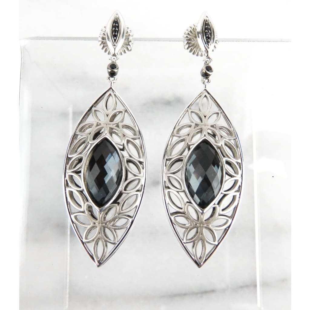 Hera Sterling Silver Hematite Mist Paradise Marquise Collection Drop Earrings - Earrings