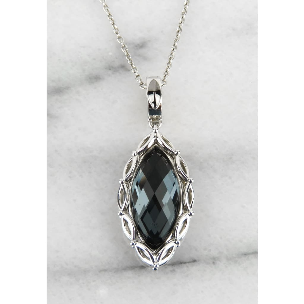 Hera Sterling Silver Hematite Mist Paradise Marquise Collection Pendant Necklace - Necklace