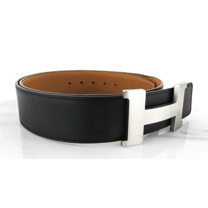 Hermes Black and Tan Leather Reversible Silver-tone Buckle 42mm Belt - Belts