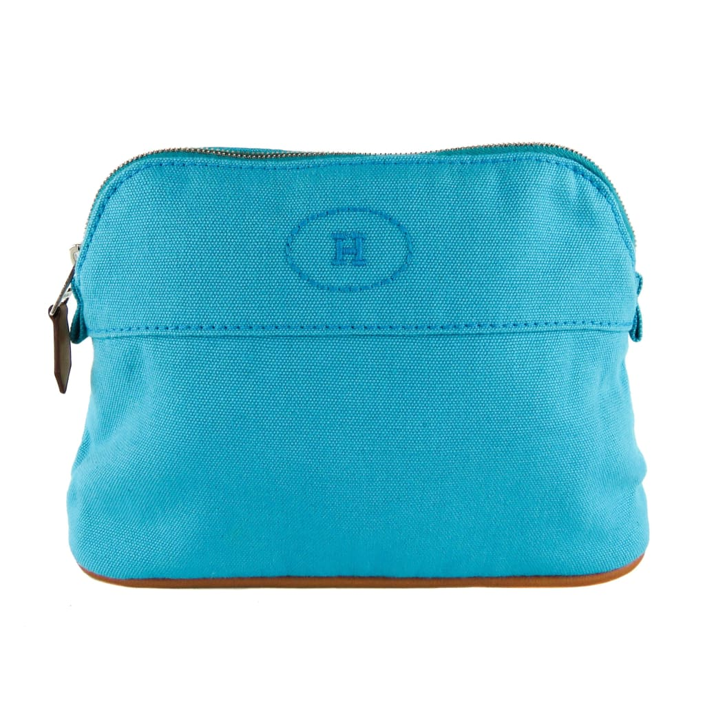 Hermes Blue Canvas Bolide Travel Mini Cosmetic Pouch - Cosmetic Pouch