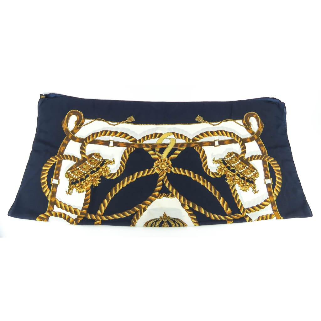 Hermes Navy Blue Silk Gold Crowns Print Scarf - Scarves