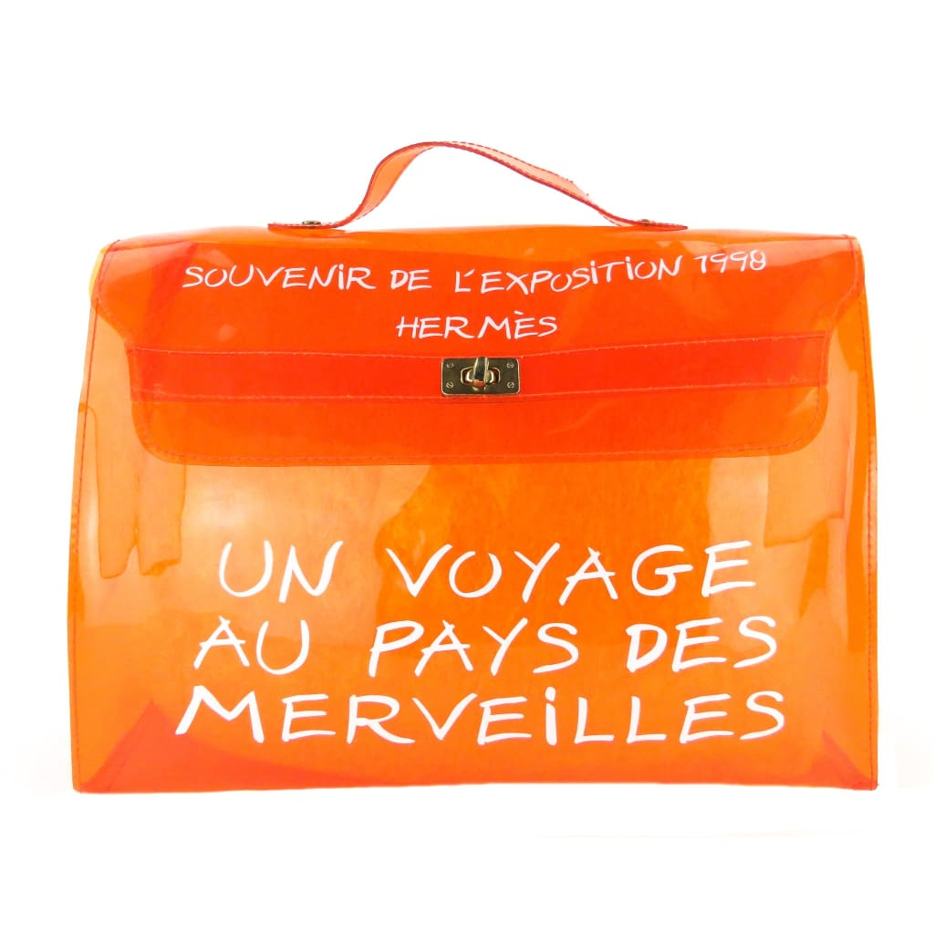 Hermes Orange PVC Kelly Souvenir De Lexposition 1998 Beach Satchel Bag - Satchels