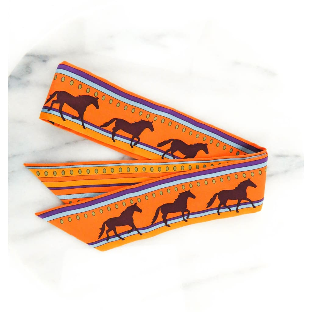 Hermes Orange Silk Sequences Horse Twilly Scarf - Scarves