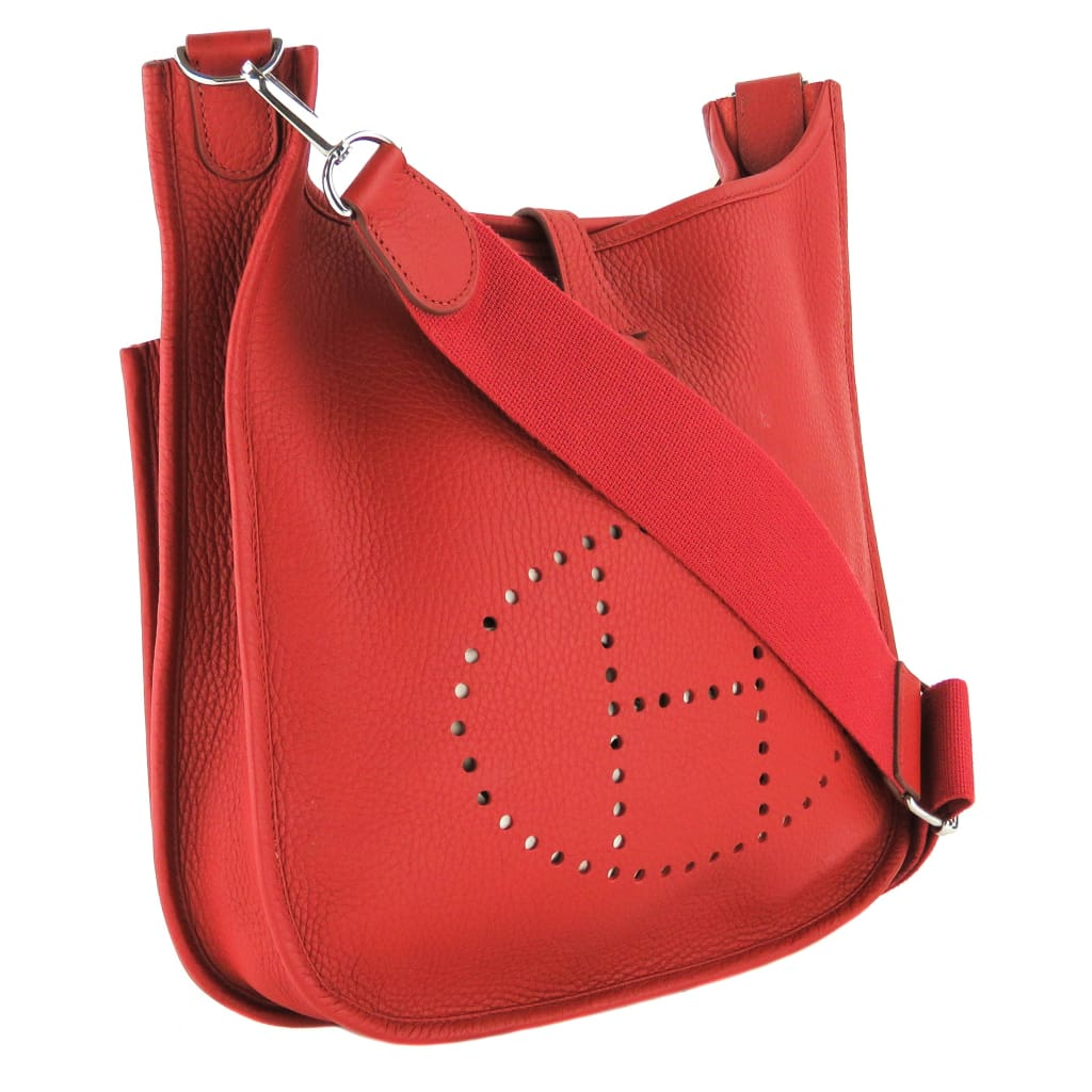 Hermes Red Leather 54 Rouge Garance Evelyn 3PM Crossbody Bag - Crossbodies