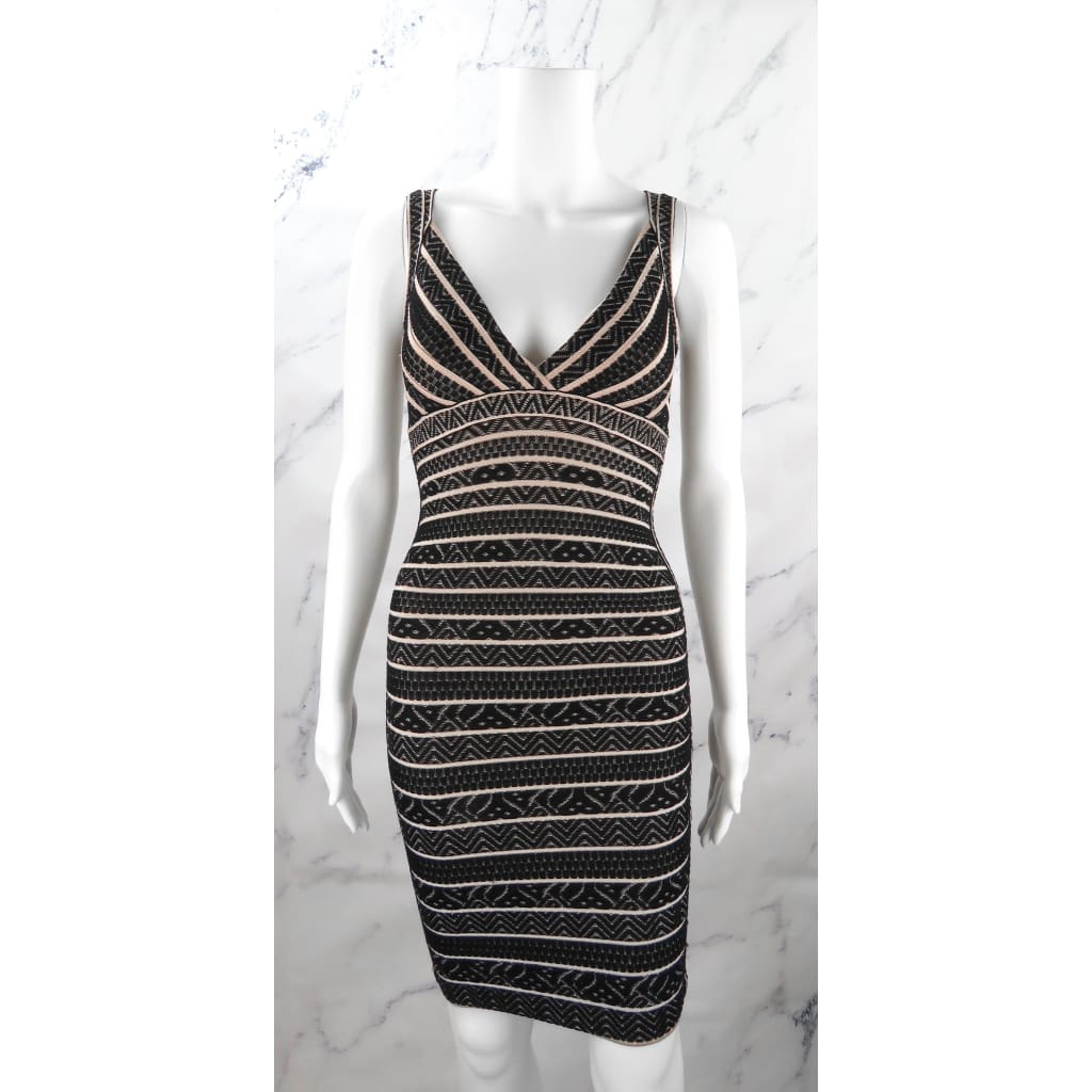 Herve Leger Black and Beige Rayon XX-Small Zahera Body Con Dress - Dresses