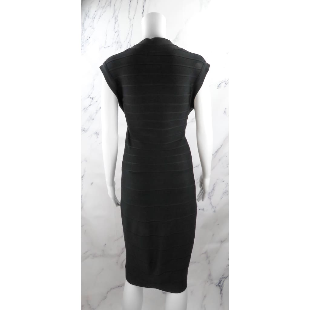 Herve Leger Black Rayon Medium Bandage Front Zipper Dress - Dress