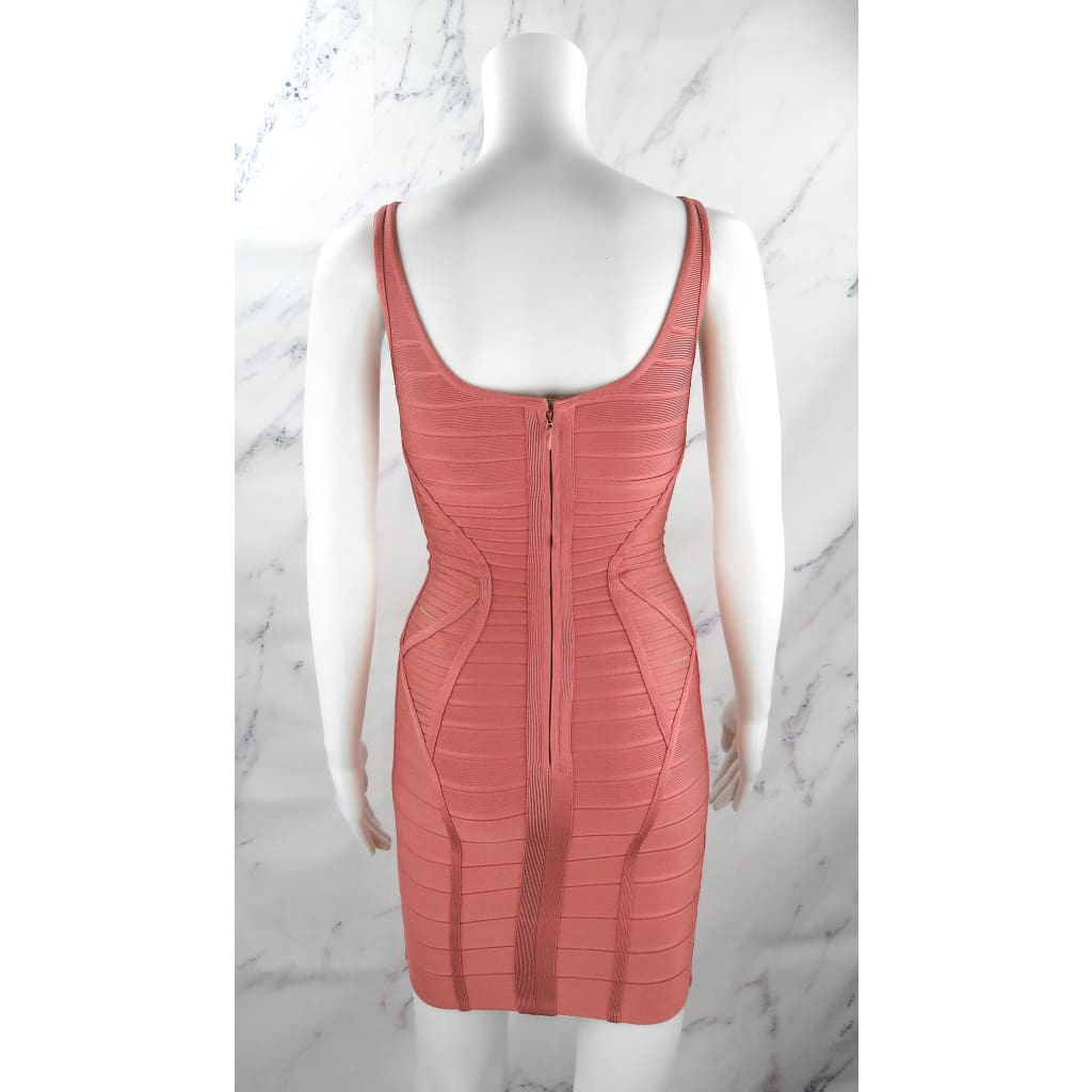 Herve Leger Mauve Pink Rayon XX-Small Verona Azalia Body Con Dress - Dresses