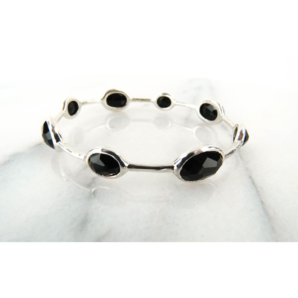 Ippolita Black Onyx Sterling Silver 8 Station Bangle Bracelet - Bracelet