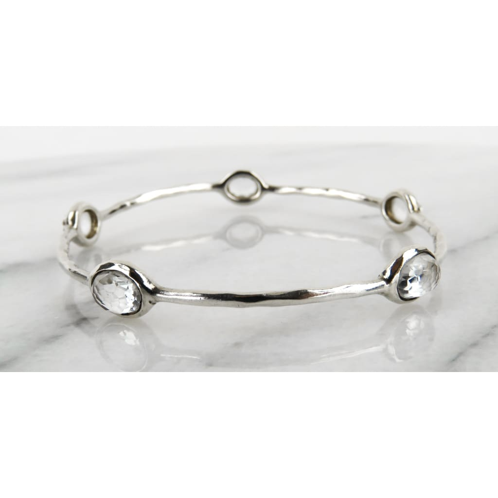 Ippolita Clear Quartz Sterling Silver 5 Station Bangle Bracelet - Bracelet