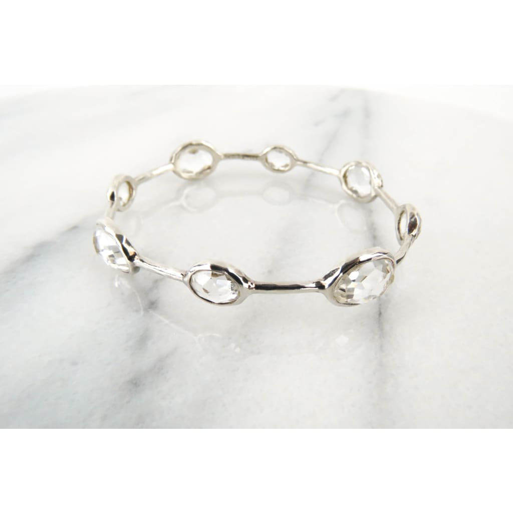 Ippolita Clear Quartz Sterling Silver 8 Station Bangle Bracelet - Bracelet