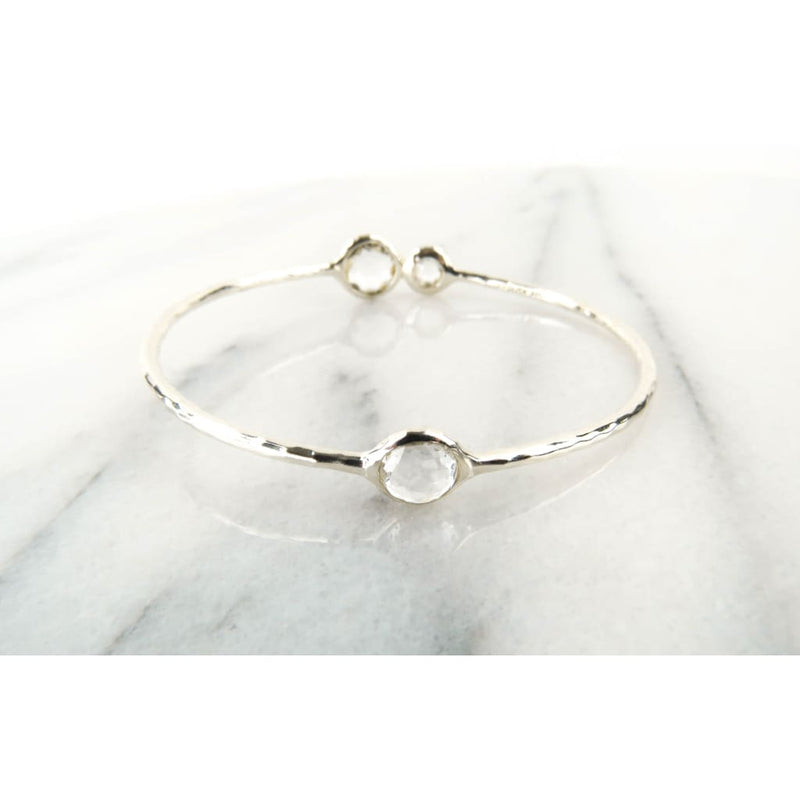 Ippolita Clear Quartz Sterling Silver Diamond 3 Station Bangle Bracelet - Bracelet
