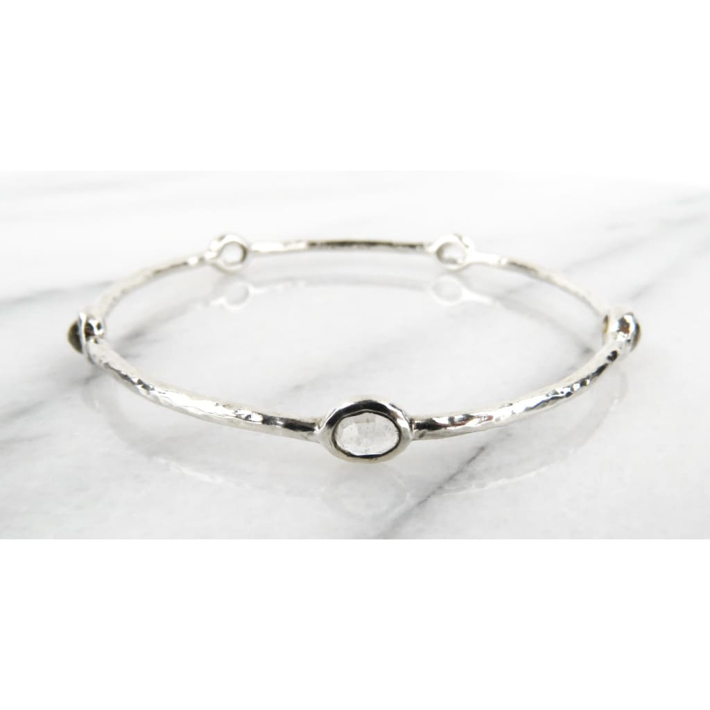 Ippolita Clear Quartz Sterling Silver Small Stone 5 Station Bangle Bracelet - Bracelet