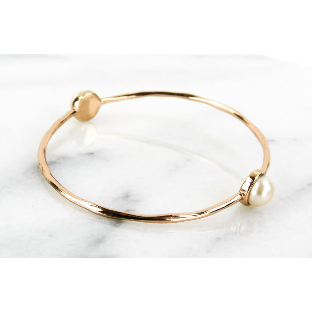 Ippolita Rose Gold-tone Sterling Silver Pearl 2 Station Bangle Bracelet - Bracelet