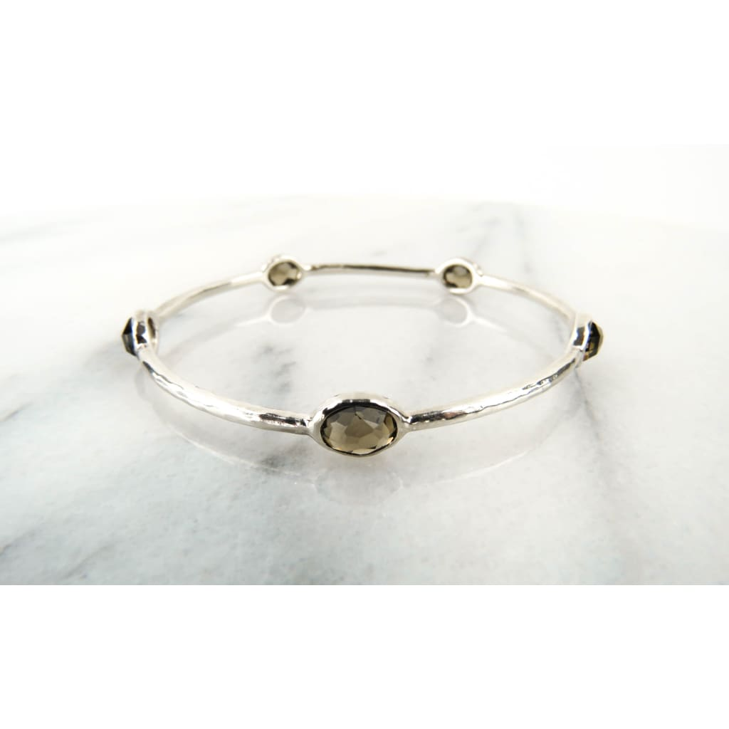 Ippolita Smokey Quartz Sterling Silver 5 Station Bangle Bracelet - Bracelet