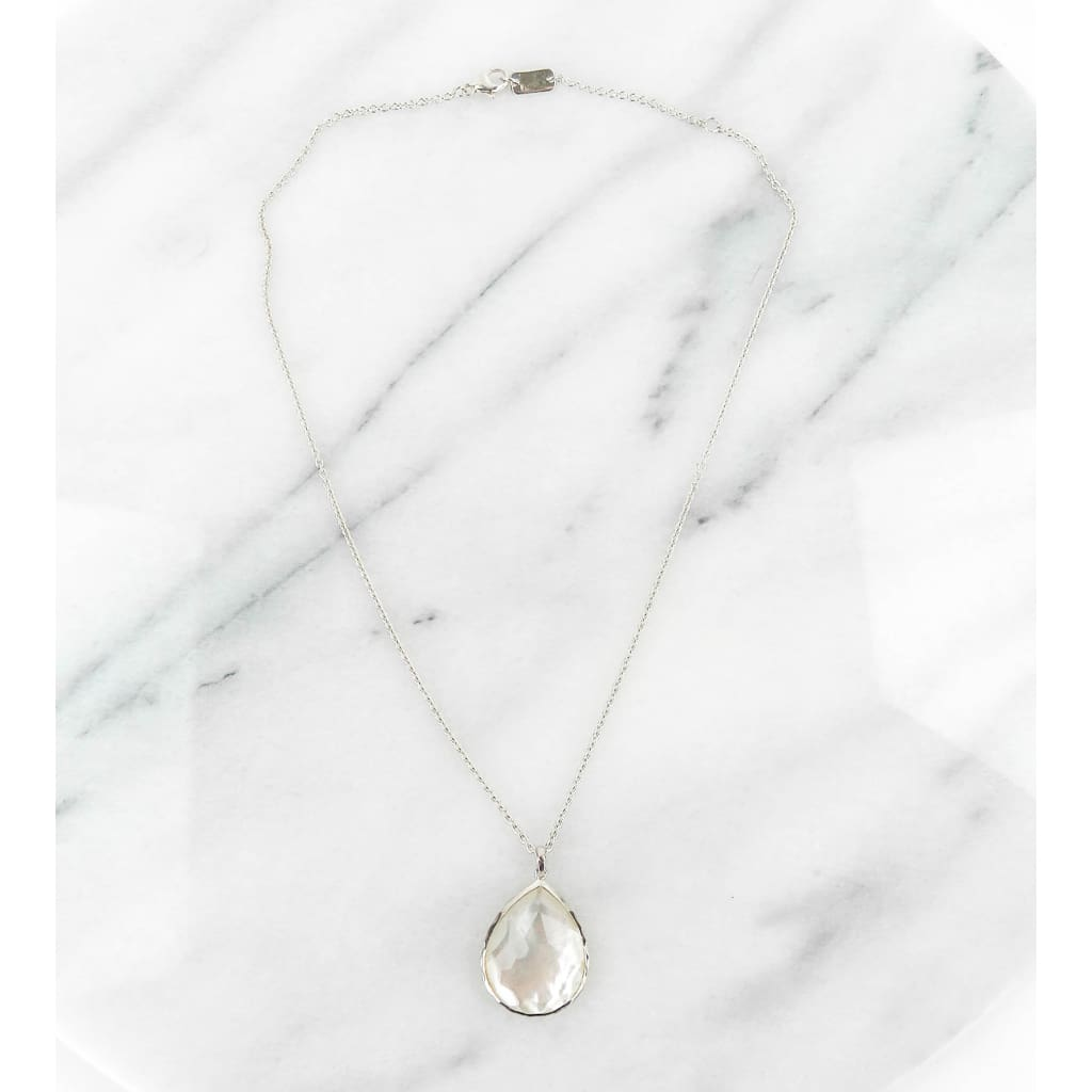Ippolita Sterling Silver Mother of Pearl Clear Quartz Teardrop Necklace - Necklace