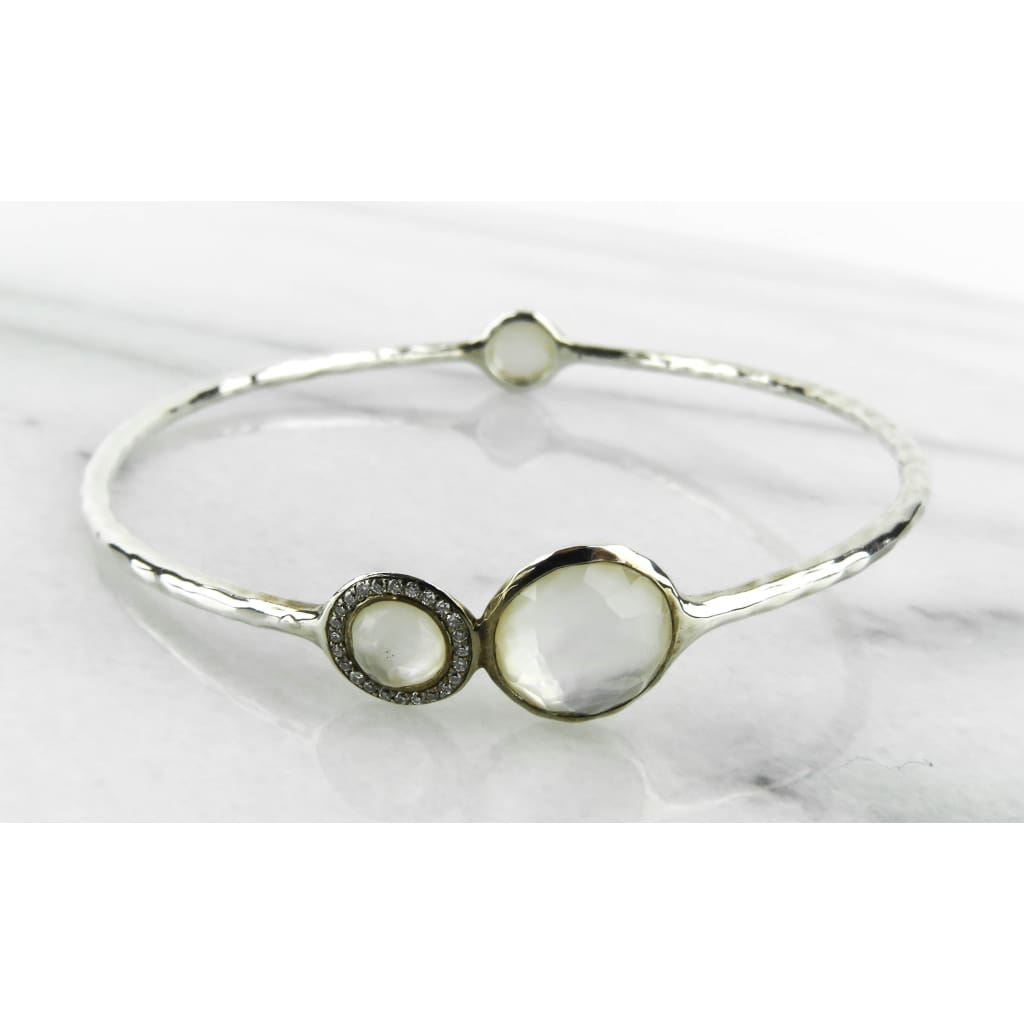 Ippolita Sterling Silver Mother of Pearl Diamond Stella Bangle Bracelet - Bracelet