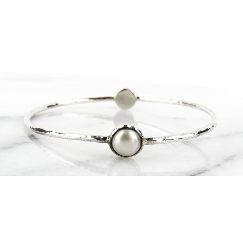 Ippolita Sterling Silver Pearl 2 Station Bangle Bracelet - Bracelet